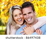 happy young couple in love at... | Shutterstock . vector #86497438