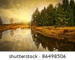 Golden Autumn Sunset Above River