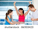 happy woman at the gym with her ... | Shutterstock . vector #86503423