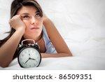 sleepless woman lying in bed... | Shutterstock . vector #86509351