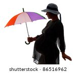 Silhouette of pregnant women with color umbrella, isolated on white - stock photo