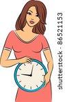 beautiful girl with clock.... | Shutterstock .eps vector #86521153