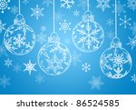 christmas ornaments with snow... | Shutterstock . vector #86524585