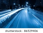 rush hour traffic at night in beijing,China - stock photo