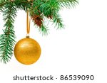 Decorative Christmas ball hangs on the Christmas tree. - stock photo