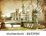romantic white castle - stock photo