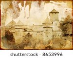 old  swiss castle - picture in retro style - stock photo