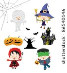 halloween kid set | Shutterstock .eps vector #86540146