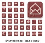 dark wooden icon set with... | Shutterstock . vector #86564059