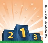 winners podium on green grass...   Shutterstock .eps vector #86579878