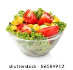 vegetable salad on plate...   Shutterstock . vector #86584912