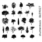 multiple tree silhouettes | Shutterstock .eps vector #8659027