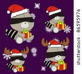 raccoon baby cartoon xmas set...   Shutterstock .eps vector #86595976