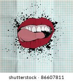 sketch of the lips and teeth on ... | Shutterstock .eps vector #86607811