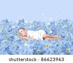 Small photo of sleeping boy on meadow