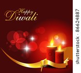 beautiful diwali candle on... | Shutterstock .eps vector #86624887
