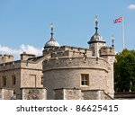the tower of london with waving ... | Shutterstock . vector #86625415
