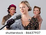 1940's 3 part harmony singing... | Shutterstock . vector #86637937