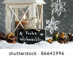 candle lantern in snow with... | Shutterstock . vector #86641996