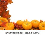 Border of autumn leaves and pumpkins over white - stock photo