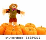 Harvest border of pumpkins with scarecrow over white - stock photo