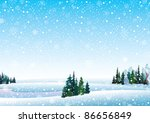 vector winter landscape with...