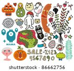 mix of different vector images... | Shutterstock .eps vector #86662756