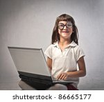 smiling little girl with thick... | Shutterstock . vector #86665177