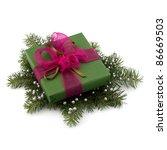 Christmas gift box isolated on white background - stock photo