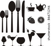 Set Of Kitchen Object. Icon....