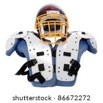 Old scratched football helmet and protection suit on a white background. - stock photo