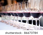 glasses of red wine in a row on ... | Shutterstock . vector #86673784