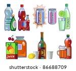 set of drinks in bottles and... | Shutterstock .eps vector #86688709