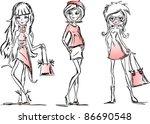 fashion cartoon girl | Shutterstock .eps vector #86690548