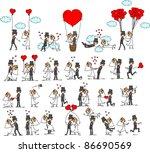 set of wedding pictures  bride... | Shutterstock .eps vector #86690569