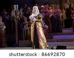 "DNEPROPETROVSK, UKRAINE - MAY 14: Members of the Dnepropetrovsk State Opera and Ballet Theatre perform "" Othello "" on May 14, 2011 in Dnepropetrovsk, Ukraine - stock photo"