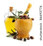 Olive Oil And Olives In An...
