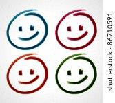 hand drawn smile face. vector... | Shutterstock .eps vector #86710591