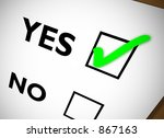 yes no tickbox with green yes... | Shutterstock . vector #867163