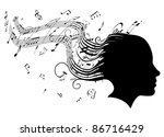 Conceptual illustration of a woman's head in profile with hair turning into sheet music musical notes - stock photo