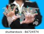 businesswoman touch on screen... | Shutterstock . vector #86724574