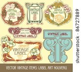 vector vintage items  label art ... | Shutterstock .eps vector #86727889