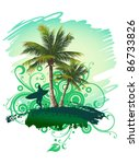 tropical background with a... | Shutterstock . vector #86733826