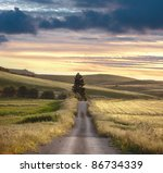 Road Crosses Rural Landscape...