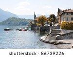 Indian summer in Tremezzo town at the famous Italian lake Como - stock photo