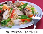 Chicken Stir Fry Rice with Vegetables - stock photo