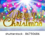 merry christmas written in gold ... | Shutterstock . vector #86750686