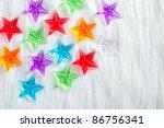 christmas colorful glass stars... | Shutterstock . vector #86756341