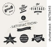 Stock vector vector vintage styled premium quality and satisfaction guarantee label collection with black 86756545