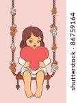 cartoon little girl with heart... | Shutterstock .eps vector #86759164